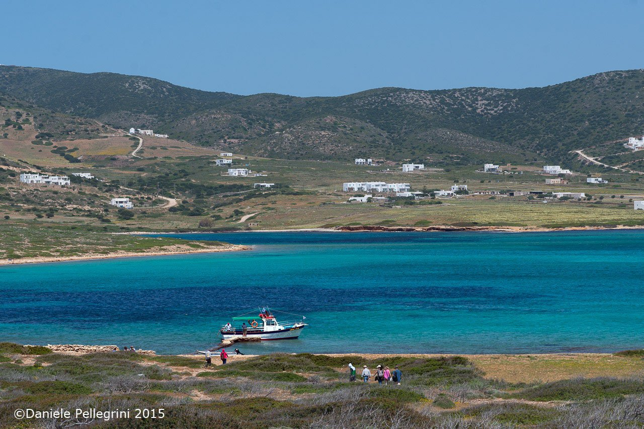 Cyclades, Despotiko Island in the foreground and Antiparos Island in the background